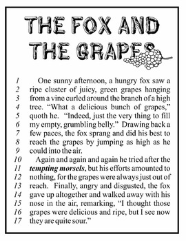 picture about Aesop's Fables Printable identify Aesops Fables - The Fox and the Grapes