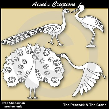 Aesop's Fables - The Peacock & the Crane Clip Art