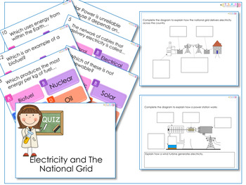 AfL Quiz and Worksheet - The National Grid/Electricity Generation