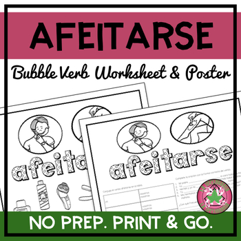 Afeitarse Bubble Verb Worksheet and Poster