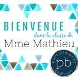 Affiche Bienvenue dans la classe de / French Welcome Poster Turquoise Triangles