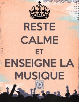 """Affiche """"Reste calme et enseigne la musique"""""""
