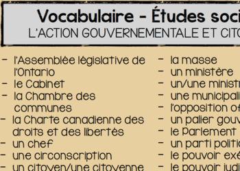 Affiche - Vocabulaire 5e année Ontario (Unité de Gouvernement)