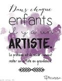 Affiche avec citation de Picasso