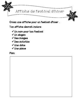 Affiche de festival d'hiver/ French Winter Festival Poster Activity