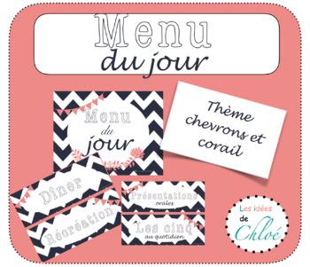 Affiche et étiquettes Menu du jour - French Chevron Schedule Cards and Poster