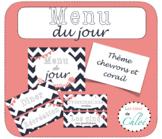 Affiche et étiquettes Menu du jour - French Chevron Schedu