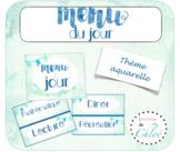 Affiche et étiquettes Menu du jour aquarelle - French Watercolor Schedule Cards