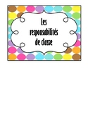 Affiche - responsabilités de classe / small poster classroom jobs FRENCH
