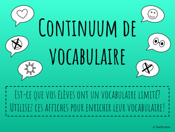 Affiches: Continuum de vocabulaire