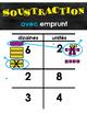 Affiches d'addition et soustraction, avec regroupement et emprunt