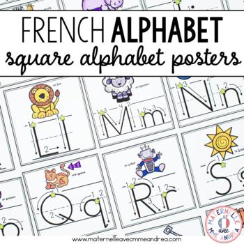 Affiches d'alphabet - carrés avec flèches (FRENCH Alphabet posters with arrows)