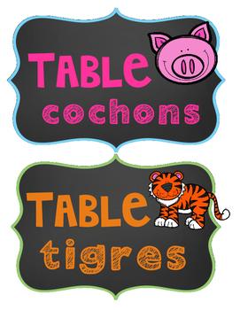 Affiches de tables!