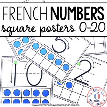 Affiches des nombres 0 à 20 (FRENCH Square Number posters 1-20)