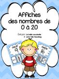 Affiches des nombres 0 à 20 (French Number Posters - blue