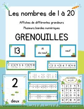 Affiches des nombres 1 à 20 - Grenouilles