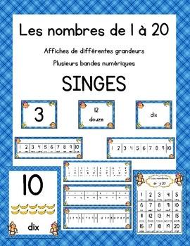 Affiches des nombres 1 à 20 - Thèmes des singes