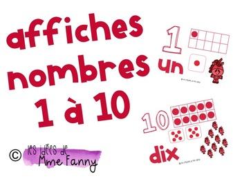 Affiches des nombres de 1 à 10 avec plusieurs représentations