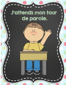 Affiches des règles de vie /French classroom rules posters