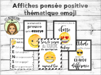 Affiches pensée positive emoji FRENCH posters