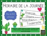 Affiches pour l'horaire de la journée -Thème cactus - Français