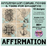 Affirmation Cards and Tags for students Back to School tre