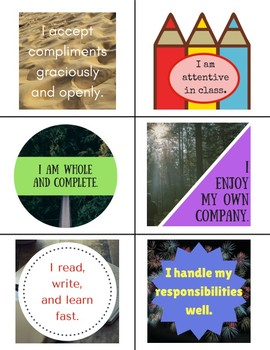 Affirmation Cards with Classroom Uses - Growth Mindset