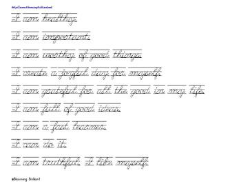 Affirmation Handwriting Practice Print and Cursive