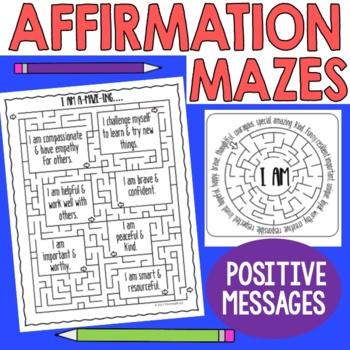 Positive Thinking Affirmation Mazes