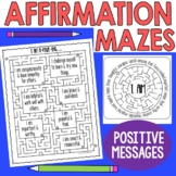 Positive Thinking Affirmation Mindfulness Mazes Activity Set 1