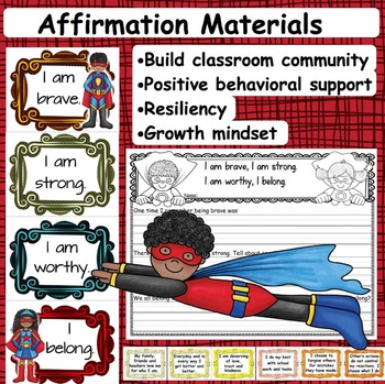 Affirmation Posters, Poem, and Writing Activity
