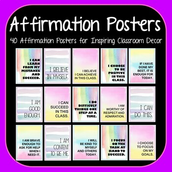 Growth Mindset Affirmation Posters - 40 Watercolor Posters for Classroom Decor
