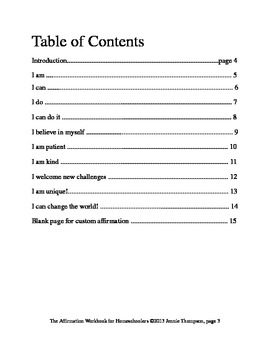 Affirmation Workbook for Homeschoolers