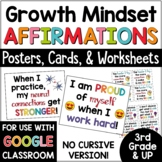 Affirmations: Growth Mindset Posters and Cards (NONCURSIVE VERSION)