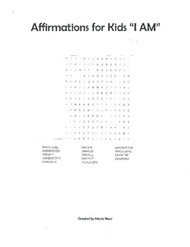 Affirmations for Kids Word Search