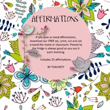 Affirmations for Teachers Free Resource