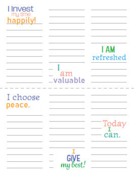 Affirmations for Teachers/Positive Quotes - Note sheets and 3x3 cards