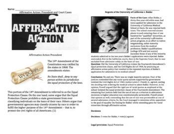 Affirmative Action - Crash Course 32 & Court Cases