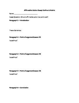 Affirmative Action Essay Outline & Rubric