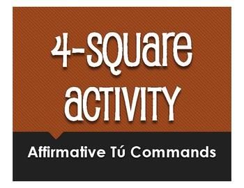 Spanish Affirmative Tú Commands Four Square Activity