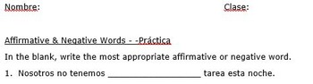 Affirmative and Negative Words Practice / Test