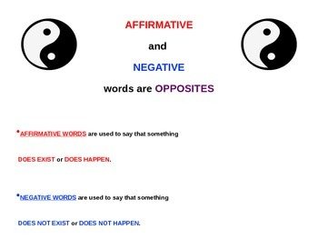 Affirmative and Negative instructional/ practice presentation with  flashcards