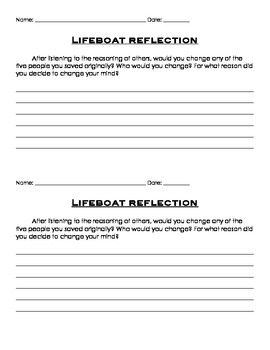 Affirmative and Negative (pro's and con's) Lifeboat Activity