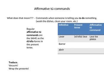 Affirmative tú commands notes Avancemos 5.2