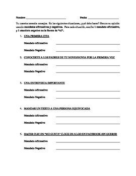Affirmative/Negative Commands Worksheet
