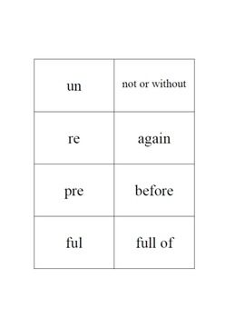 Vocabulary Game: Affix Concentration for Grades K-2