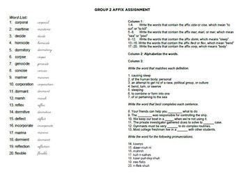 Affix Study Set - 6th and 7th Grade Illinois ISAT Affixes