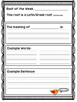 Affix and Root Word of the Week Worksheet