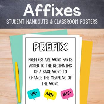 Affix bundle: Prefix and Suffix handout and poster