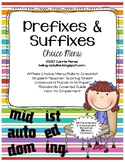 Prefixes and Suffixes Choice Menu Pack for Differentiation and Extension